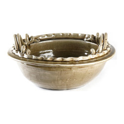 Kathy Kuo Home - Athenaeum Earthenware Double Handled Deep Bowl - The art and craft of ceramics are celebrated in this beautiful decorative bowl, glazed in an earthy mushroom grey.  Use as the centerpiece of a well-set table, or to hold treasured keepsakes, or even as a stylish place to drop your keys - the choice is yours.