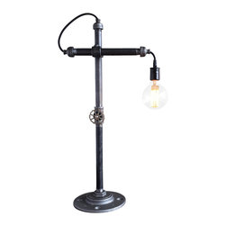 Peared Creation - Industrial Task Lamp - This industrial style lamp was inspired by the ring stands found in a chemistry lab. It's a simple and elegant piece that is perfect for any study, coffee table, or man cave. The entire fixture is adjustable for perfect positioning of the bulb. A rotating faucet handle serves as a switch to turn the light on and off.