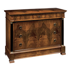 "Inviting Home - Empire Style Inlaid Chest - Five drawer Empire style chest with walnut veneer rosewood inlay black columns and antiqued brass hardware. Top drawer with lock and key secret drawer at bottom; 48""W x 19-3/4""D x 36-1/2""H hand-made in Italy Hand-crafted Empire style inlaid chest. Empire style chest features walnut veneer inlaid with rosewood. This Empire chest has black columns top drawer with lock and key three drawers in the middle secret drawer at the bottom and antiqued brass hardware. This inlaid chest is hand-made in Italy."
