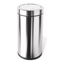 """simplehuman - Swing Top Trash Can - Most people cannot stand the noise of a trash can lid banging everytime someone throws garbage away. The Simplehuman swing top trash can eliminates that noise. You only need to slide your trash into the can and the top will return to its original position. Features: -Brushed stainless steel. -Swing top opening lid. -Inner bucket for easy bag disposal. -Nonskid base prevents trash can from tipping. -Holds 30-33 gallon tall trash bags. -Capacity: 14.5 gallon/ 55 liter. -10 year limited warranty. Dimensions: -29.2"""" H x 14.8"""" W x 14.8"""" D, 18.1 lbs."""