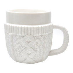 Cable Knit Sweater Mug - Layering up is the key to keeping yourself warm on the mountain — and your cocoa warm in the kitchen.
