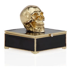 Z Gallerie - Morton Skull Trinket Box - Add our edgy Enamel Skull Trinket Box as a chic complement to your treasured jewels. With clean lines and a bold gold hued skull affixed to the top, the stunningly crafted ceramic box is enameled in black with gold hued design details. Adorning the box with a sparkly clear crystals clasp closure make it all the more stylish. Secured by a hinged closure for ease of use, and decoratively enameled on the interior for a hidden treasure within. Complete the look with the Morton Skull or Morton Keychain.