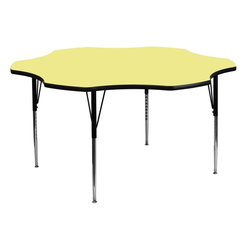 """Flash Furniture - 60"""" Flower Shaped Activity Table with Yellow Top and Adjustable Legs - Flash Furniture's XU-A60-FLR-YEL-T-A-GG warp resistant thermal fused laminate flower activity table features a 1.125 in.  top and a thermal fused laminate work surface. This Flower Shaped Laminate activity table provides a durable work surface that is versatile enough for everything from computers to projects or group lessons. Sturdy steel legs adjust from 21.125 in.  - 30.125 in.  high and have a brilliant chrome finish. The 1.125 in.  thick particle board top also incorporates a protective underside backing sheet to prevent moisture absorption and warping. T-mold edge banding provides a durable and attractive edging enhancement that is certain to withstand the rigors of any classroom environment. Glides prevent wobbling and will keep your work surface level. This model is featured in a beautiful Yellow finish that will enhance the beauty of any school setting."""