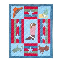 Patch Magic - Wild West Crib Quilt - 36 in. W x 46 in. L. Handmade, hand quilted. 100% CottonMachine washable, but for best care hand wash in cold water. Do not machine dry. Do not dry clean. Line or flat dry only.