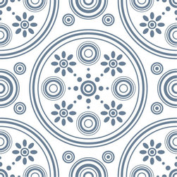 Odhams Press - Retro Daisies Blue RETile Decal, White Background - RETile decals can be used to accent or transform your existing ceramic, stone or glass tiles. They are easy to apply and can be removed in the future without leaving a sticky residue.
