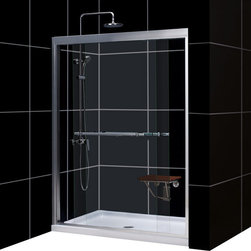 "DreamLine - DreamLine Duet Frameless Bypass Sliding Shower Door and SlimLine 32"" - Choose the perfect solution for a bathroom remodel or tub-to-shower conversion project with a DreamLine shower kit. This kit includes a DUET bypass sliding shower door and a coordinating SlimLine shower base. The DUET has two sliding glass panels that bypass each other to allow entry in to the shower space from either side. A SlimLine shower base completes the picture with a modern low profile design. Choose a beautiful and efficient DreamLine shower kit to completely transform a shower space. Choose a beautiful and efficient DreamLine shower kit to completely transform a shower space. Items included: Duet Shower Door and 32 in. x 60 in. Single Threshold Shower BaseOverall kit dimensions: 32 in. D x 60 in. W x 74 3/4 in. HDuet Shower Door:,  56 - 60 in. W x 72 in. H ,  5/16 (8 mm) clear tempered glass,  Chrome or Brushed Nickel hardware finish,  Frameless glass design,  Width installation adjustability: 56 - 60 in.,  Out-of-plumb installation adjustability: Up to 1/2 in. per side,  Sliding bypass shower door design,  Anodized aluminum profiles and guide rails,  Convenient towel bars,  Door opening: 22 - 26 in.,  Stationary panel: 29 5/8 in.,  Material: Tempered Glass, Aluminum,  Tempered glass ANSI certified32 in. x 60 in. Single Threshold Shower Base:,  High quality scratch and stain resistant acrylic,  Slip-resistant textured floor for safe showering,  Integrated tile flange for easy installation and waterproofing,  Fiberglass reinforcement for durability,  cUPC certified,  Drain not included,  Center, right, left drain configurationsProduct Warranty:,  Shower Door: Limited 5 (five) year manufacturer warranty ,  Shower Base: Limited lifetime manufacturer warranty"