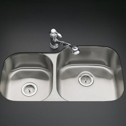 """KOHLER - KOHLER K-3356-L-NA Undertone Extra-Large/Medium Undercounter Kitchen Sink with L - KOHLER K-3356-L-NA Undertone Extra-Large/Medium Undercounter Kitchen Sink with Left Basin Depth of 7-1/2"""" and Right Basin Depth of 9-1/2""""With its undercounter installation and highly durable, 18-gauge stainless steel construction, this Undertone kitchen sink brings quiet sophistication to your kitchen workspace. Its extra-large and medium basins put functionality first. SilentShield(R) Plus, an exclusive sound absorption system, reduces disposal noise and vibration from dishes and running water for quiet performance.KOHLER K-3356-L-NA Undertone Extra-Large/Medium Undercounter Kitchen Sink with Left Basin Depth of 7-1/2"""" and Right Basin Depth of 9-1/2"""", Features:• Generous double-basin size puts functionality first"""