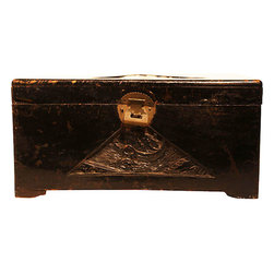 Antique Chinese Camphor Chest - Store your cherished belongings in a chest that's a treasure in itself. This 19th century Chinese box, made of aromatic camphor and featuring hand-carved details, is a striking accent piece for a dresser or console table in your favorite setting.