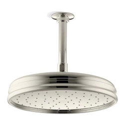 "Kohler - Kohler K-13693-SN Vibrant Polished Nickel Rainhead Rainhead 10"" - 10"" Traditional round rain showerhead The new KOHLER Rainhead collection delivers the most comprehensive offering of rain showerheads available in the market today, providing an affordable and scalable showering solution that coordinates designs and finishes with the rest of the KOHLER faucets and accessories.  Elegant traditional styling creates the perfect complement to any period inspired custom shower installation Superior spray performance with Katalyst Spray Technology™ delivers a luxurious and drenching  rain  experience Optimized sprayface design creates a denser uniform spray pattern for consistent coverage and feeling of warmth MasterClean™ sprayface with translucent nozzles resists mineral buildup and ensures reliable performance for years to come 2.5 gallons per minute flow rate Solid brass construction ensures durability and reliability Comprehensive Finish Offering compliments KOHLER s complete faucet and accessory program"