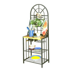 "Holly & Martin - Holly & Martin Summit Baker's Rack - Contemporary and fresh, this small baker's rack features a wine rack, sturdy wood top and an arched top reminiscent of a large window.  The top includes small adjustable baskets and utility hooks, and two generous shelves below the main surface offer additional storage.  This is a fine piece for not only the dining room, but also to add space and work area to a small kitchen.  Here is a bakers rack with a clean and easy design.  This bakers rack is a practical additional to any kitchen. * Adjustable basket shelvesIt can hold up to five bottles of wineIncludes six mobile utility hooks . Constructed of solid tubular steel and covered in a durable black finish. 26""W x 17""D x  68""H"