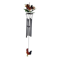 Great World - 28 Inch Colored Rooster 3-D Metal Sun Flower Design Wind Chime - This gorgeous 28 Inch Colored Rooster 3-D Metal Sun Flower Design Wind Chime has the finest details and highest quality you will find anywhere! 28 Inch Colored Rooster 3-D Metal Sun Flower Design Wind Chime is truly remarkable.