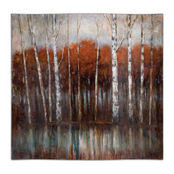 Uttermost - Rippled Landscape Hand Painted Art - Beautiful autumnal birches bring a sense of tranquility to your favorite space. This impressive painting is done on hardboard and eschews a frame for fresh-off-the-easel appeal.
