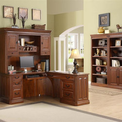 Golden Oak - Augusta Return Desk w Bookcase Set in Brown C - Includes desk with hutch & 2 bookcases. Cable management channels to organize and hide cables. Versatile left-hand center drawer with drop-down face functions as keyboard holder or pencil drawer. Large right-hand keyboard tray offers ample room for keyboard, mouse and mouse pad. CPU compartment muffles noise while protecting PC. Space-saving hutch with handy cabinets, shelves, letter holders and pocket drawers. Stand-alone file cabinet holds legal and letter files. Hidden rear door on desk provides easy access to back of CPU, cables or other peripherals. Perfect blend of style, elegance and efficiency. Fully finished L-shaped desk offers the option to work left or right. Dovetail joinery construction and full extension. Ball-bearing slides for smooth operation and long life. Constructed from rich hardwoods and wood veneers. Desk: 72 in. W x 66 in. D x 31 in. H. Hutch: 68.5 in. W x 14.75 in. D x 48 in. H. Bookcase:. Open: 33 in. W x 15 in. D x 79 in. H (108 lbs.). With door: 33 in. W x 15 in. D x 79 in. H (123 lbs.)