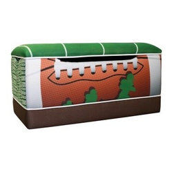 Newco Kids Football 50 Yard Line Toy Box - Built for the rowdiest of young football players, the Newco Kids Football 50 Yard Line Toy Box is the right size to fit in kid's rooms and keep everything organized. The wood frame is covered with polyurethane foam and upholstered in soft yet durable polyester fabric. Safety hinges and air vents ensure the utmost safety. Dimensions: 28W x 19D x 23H inches.About Harmony KidsFounded more than 15 years ago, Harmony Kids is based in San Fernando, Calif. They produce high-quality children's and adult glider furniture designed to make life easier and more comfortable. This exceptional company is dedicated to providing their customers with complete and total satisfaction. All Harmony Kids products are proudly manufactured in the United States.