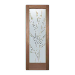 """Interior Glass Doors - Barren Branches Pinstripe - CUSTOMIZE YOUR INTERIOR GLASS DOOR!  Interior glass doors ship for just $99 to most states, $159 to some East coast regions, custom packed and fully insured with a 1-4 day transit time.  Available any size, as interior door glass insert only or pre-installed in an interior door frame, with 8 wood types available.  ETA will vary 3-8 weeks depending on glass & door type.........Block the view, but brighten the look with a beautiful interior glass door featuring a custom frosted glass design by Sans Soucie!   Select from dozens of sandblast etched obscure glass designs!  Sans Soucie creates their interior glass door designs thru sandblasting the glass in different ways which create not only different levels of privacy, but different levels in price.  Bathroom doors, laundry room doors and glass pantry doors with frosted glass designs by Sans Soucie become the conversation piece of any room.   Choose from the highest quality and largest selection of frosted decorative glass interior doors available anywhere!   The """"same design, done different"""" - with no limit to design, there's something for every decor, regardless of style.  Inside our fun, easy to use online Glass and Door Designer at sanssoucie.com, you'll get instant pricing on everything as YOU customize your door and the glass, just the way YOU want it, to compliment and coordinate with your decor.   When you're all finished designing, you can place your order right there online!  Glass and doors ship worldwide, custom packed in-house, fully insured via UPS Freight.   Glass is sandblast frosted or etched and bathroom door designs are available in 3 effects:   Solid frost, 2D surface etched or 3D carved. Visit our site to learn more!"""