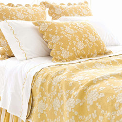 Pine Cone Hill - Pine Cone Hill Madeline Gold Quilt - Elegantly paired with stripes and florals, the Pine Cone Hill Madeline Gold Quilt is a true favorite. Coordinate with the Madeline Stripe line for an impeccable bedding ensemble. Available in twin, full/queen, and king sizes. 100% cotton sateen.