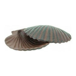 """Handcrafted Nautical Decor - Rustic Cast Iron Shell Hide A Key 6"""" - Coastal Decorating Style - Let this lovely little shell keep you from being locked out of your home. She's a darling beach decoration with a special secret. This shell hide a key stashes a spare key safely out of sight from prying eyes, but is a charming and smart way to hold an emergency house key at reach when you need it. This shell hide a key is a thoughtful gift idea for any beach enthusiast."""