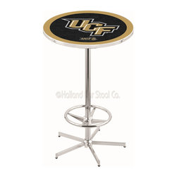 Holland Bar Stool - Holland Bar Stool L216 - 42 Inch Chrome Central Florida Pub Table - L216 - 42 Inch Chrome Central Florida Pub Table  belongs to College Collection by Holland Bar Stool Made for the ultimate sports fan, impress your buddies with this knockout from Holland Bar Stool. This L216 Central Florida table with retro inspried base provides a quality piece to for your Man Cave. You can't find a higher quality logo table on the market. The plating grade steel used to build the frame ensures it will withstand the abuse of the rowdiest of friends for years to come. The structure is triple chrome plated to ensure a rich, sleek, long lasting finish. If you're finishing your bar or game room, do it right with a table from Holland Bar Stool.  Pub Table (1)