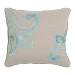 Silver Nest - Fleur Down Pillow - Cotton Slub Fabric. Embroidered Details. Pillow Cover with Hidden Zipper. Includes Down Pillow insert. Priced individually, must be sold in set of 2. Hand Wash in Cold Water. Lay Flat to Dry.
