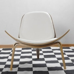 3-Legged Shell Chair With Walnut Base, White - A curvy accent chair in white leather is a nice contrast to straight-lined and dark furniture. Use it for extra seating when entertaining.