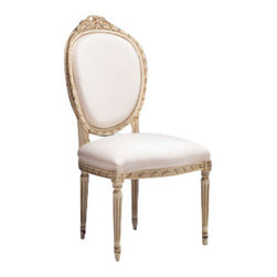 "Inviting Home - Louis XVI Side Chair - Louis XVI style carved beech wood side chair; overall dimensions"" 21-1/2""W x 22""D x 42-1/2""H; seat is 21-1/2""W x 22""D x 20""H; back is 42-1/2""H; hand-crafted in Italy; Louis XVI style carved beech wood chairs with heavily distressed white finish. Louis XVI chairs have ribbon motif and muslin upholstery. These upholstered chairs are made in Italy."