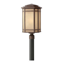 Hinkley Lighting - CherryCreek Post Outdoor - Cherry Creek's modern take on the popular Arts and Crafts style has a timeless appeal. The cast aluminum construction is enhanced by the warmth of the finish and the vintage-looking glass.