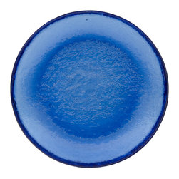 Fire & Light - Recycled-Glass Salad Plate, Cobalt Blue - This iridescent dinnerware is so beautiful, you would never guess that this salad plate is actually made from recycled glass! The unique play of light that filters through the color of these wonderful plates will enchant you and offer a glistening backdrop for your favorite meal. Made with over 91% recycled glass.