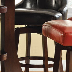 """Steve Silver - Brooks Swivel Bar Chair, Brown - Set of 2 - The cool contemporary style of the Brooks Collection makes a bold statement in any room, from the dining room to the lounge to a stylish family room. The brown swivel bar stool has a dark wood base and a comfortable, high back vinyl upholstered swivel seat. The bar chair measures 22""""W x 24""""D x 45""""H and is also available in Green, Red and Taupe -- Mix or match them to suit your personal style. Dark cherry finish; Hardwood solids and veneers; Transitional Styling; Durable Brown Vinyl Upholstery; 30"""" Seat Heigh; Swivel Seat. Dimensions: 18""""L x 22""""W x 45.5""""H"""