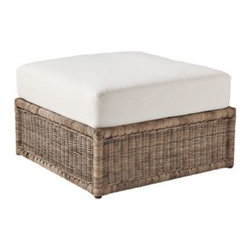 Serena & Lily - Venice Ottoman - The shape is timeless, white cushioning adds elegance. Woven of kobu rattan, this chair has an amazing texture that looks great against any backdrop. Pull up the ottoman and you may find yourself staying longer than you'd intended.  View dimensions