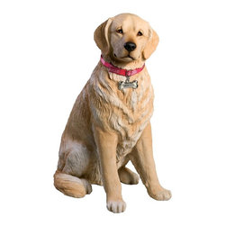 Sandicast - Sandicast Life Size Large Light Golden Retriever Sculpture - LS12903 - Shop for Sculptures Statues and Figurines from Hayneedle.com! Smart and loyal your Sandicast Life Size Large Light Golden Retriever Sculpture will bring a smile to your face. Hand-cast and hand-painted your new friend looks at you inquisitive and ready to play.About Artist Sandra Brue and SandicastBased in San Diego artist Sandra Brue has been creating art for 25 years. Her hand-cast hand-painted pieces are beloved for their stunning lifelike qualities. Sandra founded Sandicast in 1981 in San Diego; in 2005 the Neufeld family acquired Sandicast in order to allow Sandra more time to devote to philanthropic endeavors. The company is still a proud vendor of Sandra Brue's sculptures.How to care for your Sandicast Statues:Regularly dust Sandicast statues with a dry soft toothbrush in order to keep them looking their best. To wash them moisten a terry towel and gently wipe them down. You may use soap on white areas but make sure not to use soap on any painted areas as this could damage your sculpture. To avoid maximum wear and tear don't expose your statues to harsh elements. A few precautions and you'll enjoy your sculpture for years to come.