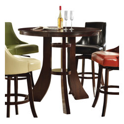 Steve Silver Furniture - Steve Silver Brooks Pub Table in Dark Cherry - Pub Table in Dark Cherry belongs to Brooks Collection by Steve Silver The cool contemporary style of the Brooks bar table makes a bold statement in any room. Create your own private pub with the eye-catching pub table constructed with hardwood solids and veneers and a dark cherry wood finish. The table top features a fancy face ash veneer layup with a quartered ash border and cathedral cut sunburst center.  Pub Table (1)
