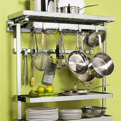 Pegrail - 36 in. Gourmet Pot Rack w 2 Shelf Extension - Wall mounted pot rack. Rectangular shape. Polished chrome color. Optional utensil holder: 5 in. W x 4 in. D x 8 in. H. Pot rack: 36 in. W x 12 in. D x 38 in. H. Utensil holder is optional. Includes two outriggers, two 32 in. wire shelves, two right and left keys for adjustability. Allows for flexibility in storing within easy reach. Utensil holder with saddle bracket that neatly slip over pot rack set's rear low bar, securing the kit in place. Two steel 8 in. H open sided holders with perforated bottoms. Lift out design and the perforated bottoms make cleaning and emptying easy. Perfect way to keep spatulas, whisks, tongs, other large utensils neat and organized. Assembly instructions