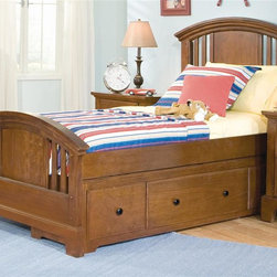 American Woodcrafters - Bradford Panel Bed (Twin) - Choose Size: TwinNightstand not included. Arched panel headboard and footboard. Decorative cherry panels and slats. Tenon and mortis construction. Optional storage pedestal with three drawers. Made from mahogany solids and cherry veneers. Rich cherry finish. Assembly required. Twin: 82 in. L x 45.19 in. W x 54 in. H (144.8 lbs.). Full: 82 in. L x 60.44 in. W x 54 in. H (201 lbs.). Optional trundle: 76 in. W x 40 in. D x 16 in. H (58 lbs.). Optional storage pedestal: 76 in. W x 18 in. D x 16 in. H (88 lbs.)Fine workmanship is evident in the Bradford line of furniture from American Woodcrafters.