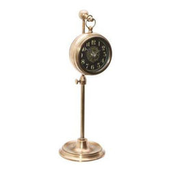 UTTERMOST - Pocket Watch Woodburn Table Clock - This Timeworks clock add a new dimension to timekeeping. Telescoping table clock reproduced from English workbench clocks. The telescoping feature allowed the craftsman to keep the clock out of the way of whatever else was on his work space.