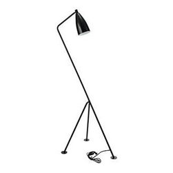 """LexMod - Askance Floor Lamp in Black - Askance Floor Lamp in Black - The designers of Askance seemed unphased by the sentiment that you dont design and name a product after something uncomfortable. But the aversion principle that the design conveys was only in order to emphasize a light-filled path ahead. Constructed of powder coated metal, an adjustable shade and tripod footing, keep your distance from opposing viewpoints and people, while embracing the future in a lamp which only inspires possibilities. Set Includes: One - Askance Floor Lamp Modern floor lamp, One 60 watt bulb (E26), Tripod footing, 90.5"""" cord, Adjustable shade, Metal powder coated Overall Product Size: 19.5""""L x 29.5""""W x 63""""H Cord Length: 90.5""""L - Mid Century Modern Furniture."""
