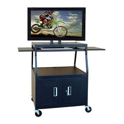 """Buhl - Wide Body Flat Panel TV Cart with Locking Cabinet - Great for businesses and educational environments, Buhl brings you their Wide Body Flat Panel TV Cart with Locking Cabinet. This cart can hold LCD/Plasma screens up to 52"""". It also includes a locking cabinet for sage storage of all your equipment while you are on the go. Shelving units also make equipment storage easy and portable, thanks to the systems 4 swivel caster design. Features: -Pyramid design -Brackets have twin post design -Built-in wire conduits -4-post height adjustments in 1"""" increments -2 removable side shelves -Locking security cabinet -4"""" swivel casters (2 locking) -UL / CSA approved -4-outlet surge protected electrical assembly with 20"""" cord and cord winder -Limited lifetime warranty Specifications: -Holds most screens up to 52"""" -Post dimensions: 23"""" H -Cart dimensions: 42"""" H x 25"""" W x 8"""" D -Top shelf dimensions: 32"""" W x 22"""" D -Bottom shelf dimensions: 32"""" W x 27"""" D -Security cabinet dimensions: 17' H x 32"""" W x 24"""" D"""