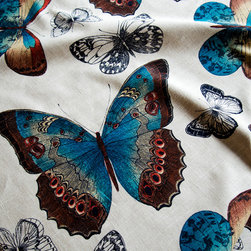 """Butterfly fabric toile peacock blue orange summer - A butterfly fabric. A butterfly toile fabric in summer colors of peacock blue and orange. For those that love butterflies! This has a very large scale and colors have a """"WOW"""" factor!"""