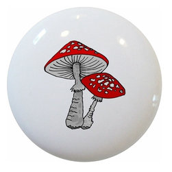 Carolina Hardware and Decor, LLC - Red Mushroom Ceramic Knob - New 1 1/2 inch ceramic cabinet, drawer, or furniture knob with mounting hardware included. Also works great in a bathroom or on bi-fold closet doors (may require longer screws). Item can be wiped clean with a soft damp cloth. Great addition and nice finishing touch to any room!