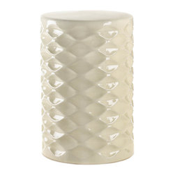 Gifts Galore - Ivory Faceted Ceramic Stool - Chic and cool.  This beautiful ceramic stool works in any room and can even be used outdoors.  Whether used for display as a foot stool, or extra seating when guest arrive, it will add a touch of easy elegance to your decor.