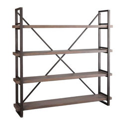 Wood and Iron X-Back Bookcase - Great looking heavy 'X-Back' bookcase in Iron and Mango wood. Love the heavy industrial style.