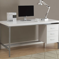 Monarch - White Hollow-Core/Silver Metal 60in.L Office Desk - Create an industrial yet simple style to your home with this 3 drawer white hollow-core desk. A beautiful silver metal frame supports this thick topped work station with generous drawer storage.