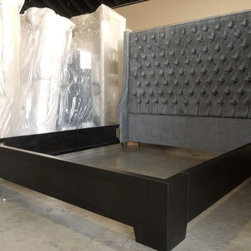 Grace Bed - The Grace Bed shown here upholstered in Steel Gray.  Custom wood frame in espresso.