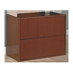Office Star - Two-Drawer Wood Lateral Locking File - Sonoma - Made of Wood. Select hardwood veneers, book-matched. Solid hardwood edges. Cherry finish with medium sheen. Radius wood edges on tops and modesty panels. Compound radius corners on tops. Common grain direction on tops of all components of L and U workstations. Pictured in Cherry Wood. Some assembly required. 37 in. W x 20 in. L x 29 in. H