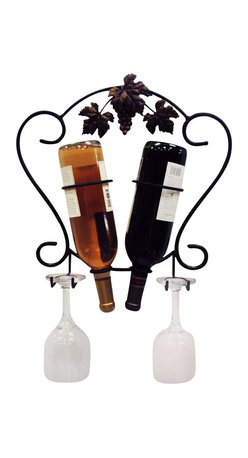 J&J Wire - Two Wine Bottle and Glass Holder - Wine, glasses, and screws not included. Classic design. Elegant antique gold grapes and leaves. Heavy construction. Welded fabrication. Holds two bottles and two wine glasses. Easy wall mounted. Made from sturdy wrought iron. Black powder coated finish. Made in USA. No assembly required. 15 in. W x 5 in. D x 15 in. H (2 lbs.)This classic design will complement any decor with our popular grapes and leaves highlighted in an elegant antique gold. Wall mounted, this will showcase any two bottles of wine and two of your cherished stem glasses. The sturdy iron is cured under heat to provide a durable black powder-coated finish.