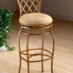 """Hillsdale - Swivel Rooster Counter Stool in Country Beige - Choose Seat Height: Counter HeightWhile the Swivel Rooster Bar & Counter Stool is made of modern metals, it's designed to serve as an exceptionally affordable country comfort option. Featuring a handsome hand-painted bucolic scene, a lattice fence back, and beige buckskin-look fabric seat, its rural roots are undeniable. * For residential use. Hand painted rooster design. Lattice back design. 360 Swivel. Faux leather upholstered seat in neutral. Constructed from high quality metalDimensions:. Counter Stools: 44H x 21 x 18 26""""H - Seat Height. Bar Stools: 50H x 21 x 18 30""""H - Seat HeightWho says country can't be chic? Our Rooster metal stool combines a fashionable country casual design with an authentic hand painted rooster motif to create a tremendous value for your kitchen or dining area. Stools have a neutral faux leather seat and a 360 degree swivel. Stools have a versatile antiqued country beige background finish with a hand paint design."""