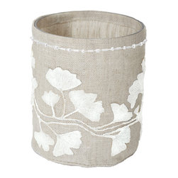 Lazy Susan - Natural Linen Silver Stitched Ginkgo Votive, Small - -Use Votive Candle