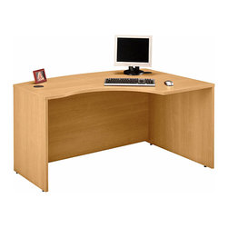 Bush Business - Right Corner L Desk in Light Oak - Series C - Designed for those hard-to-furnish corner spaces, this Light Oak Series C Right Corner L Desk allows users to face the approach side while keyboarding and affords greater computer screen privacy.  This versatile, cleanly styled contemporary desk accepts a right return. * Accepts Universal or Articulating Keyboard Shelf. L-Bow desk allows user to face approach side while keyboarding, and affords greater computer screen privacy. Accepts Right Return. Desktop & modesty panel grommets for wire access and concealment. Durable PVC edge banding protects desk from bumps and collisions. Durable melamine surface resists scratches and stains. 58.858 in. W x 42.874 in. D x 29.842 in. D