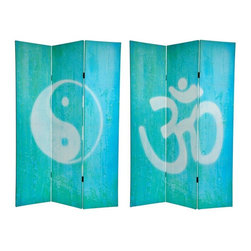 Oriental Furniture - 6 ft. Tall Double Sided Yin Yang/Om Canvas Room Divider - Bold, powerful, zen like color and images of the Sanskrit Om character on one side, and the classic Taoist Chinese yin yang symbol on the other, make this ethereal screen a beautiful decorative accent for any room: living room, bedroom, dining or kitchen. Each side has a different image as shown.