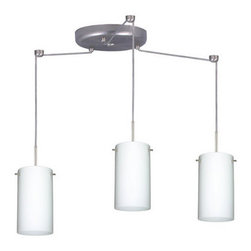 Besa Lighting - Besa Lighting 3BC-440407-LED Stilo 3 Light LED Cord-Hung Mini Pendant - Stilo 7 is a classic open-ended cylinder of handcrafted glass, a shape that will stand the test of time. Our Opal glass is a soft white cased glass that can suit any classic or modern decor. Opal has a very tranquil glow that is pleasing in appearance. The smooth satin finish on the clear outer layer is a result of an extensive etching process. This blown glass is handcrafted by a skilled artisan, utilizing century-old techniques passed down from generation to generation. The cord pendant fixture is equipped with three (3) 10' SVT cordsets and a 3-light round canopy, three (3) suspension stemhooks included.Features: