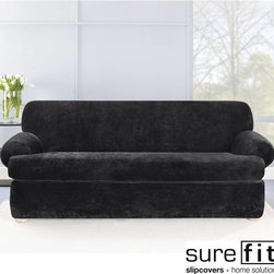 Sure Fit - Stretch Plush Black T-cushion Sofa Slipcover - The luxurious comfort of this plush-cushion sofa slipcover make it the perfect option for creating a more relaxed living room atmosphere. Durably crafted and machine washable for easy care,this super-soft slipcover has both comfort and style to spare.